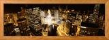 Stadt bei Nacht, Fluss Chicago in Chicago, Illinois, USA Gerahmter Fotografie-Druck