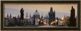 Lit Up Bridge at Dusk, Charles Bridge, Prague, Czech Republic Framed Photographic Print