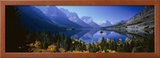 Mountains Reflected in Lake, Glacier National Park, Montana, USA Framed Photographic Print