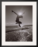 Silhouette of Dancer Jumping Over Atlantic Ocean Framed Photographic Print by Robin Hill