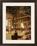 Faneuil Hall at Christmas with Snow, Boston, MA Framed Photographic Print by James Lemass