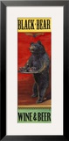 Black Bear Wine and Beer Framed Giclee Print by Penny Wagner
