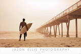 Jason Ellis In the Mist Surfer on Beach Art Print Poster Pósters