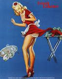 Fresh Lobster Blonde Waitress Pinched Retro Art Print Poster Lámina maestra
