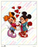 Mickey and Minnie Mouse Love 高品質プリント