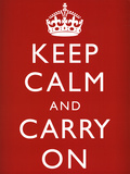 Keep Calm and Carry On (Motivational, Red) Art Poster Print Posters
