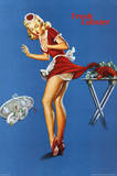 Fresh Lobster Blonde Waitress Pinched Retro Art Print Poster Prints