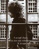 Bob Dylan I, å akseptere kaos, musikkplakat, på engelsk Plakater