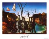 Salvador Dali Swans Reflecting Elephants White Border Art Print Poster Stampe