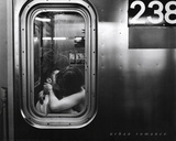 Urban Romance Kissing in Subway Window Print