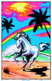 Galloping Unicorn with Rainbow Flocked Blacklight Poster Art Print Stampe