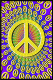 Peace Signs Blacklight Art Poster Print Print