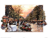 Paris Girls Promenade Cafe Art Print POSTER Landscape Poster