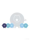 Blue Baby Pigs Poster par  Avalisa