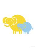 Blue Yellow Baby Elephant Posters par  Avalisa