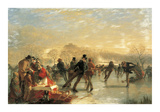 Skaters On Duddingston Loch, Edinburgh Premium Giclee-trykk av Charles Lees