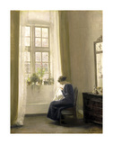 A Girl Sewing In An Interior Exklusivt gicléetryck av Carl Holsoe
