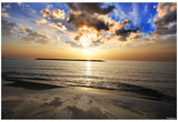 Sunrise (Ocean and Clouds, Orange and Blue) Art Poster Print Poster