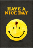 Have a Nice Day Smiley Face with Bullet Hole Black Art Print Poster Lámina
