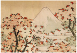 Katsushika Hokusai Mount Fuji Behind Cherry Trees and Flowers Art Poster Print Plakater