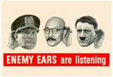 Enemy Ears Are Listening WWII War Propaganda Art Print Poster Plakater