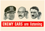Enemy Ears Are Listening WWII War Propaganda Art Print Poster Poster
