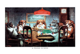 C.M. Coolidge A Friend in Need Dogs Playing Poker Art Print Poster Billeder