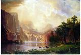 Albert Bierstadt Between the Sierra Nevada Mountains Art Print Poster Print