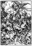 """Albrecht Durer (Illustration for """"Apocalypse,"""" Scene: The four apocalyptic horsemen) Art Poster Pri Plakater"""