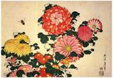 Katsushika Hokusai Chrysanthemums and a Bee Art Poster Print Affiches
