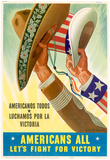 Americans All Americanos Todos Let's Fight For Victory WWII War Propaganda Art Print Poster Bilder