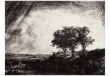 Rembrandt Harmensz. van Rijn (Landscape with three trees) Art Poster Print Posters