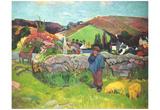Paul Gauguin (Breton landscape with swineherd) Art Poster Print Posters
