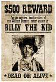 Billy The Kid Western Wanted Sign Print Poster Lámina