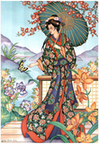 Asian Lady with Parasol Art Print POSTER lithograph Foto