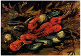 Vincent Van Gogh Still Life with Mussels and Shrimps Art Print Poster Plakat