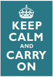 Keep Calm and Carry On Peacock Art Print Poster 高品質プリント