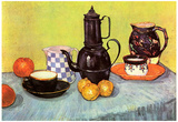 Vincent Van Gogh Still Life Blue Enamel Coffeepot Earthenware and Fruit Art Print Poster Posters
