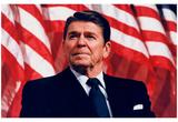 President Ronald Reagan (American Flag) Art Poster Print Bilder
