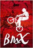 BMX Biking Sketch Sports Poster Print Posters