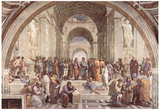 Raphael (Stanza della Segnatura in the Vatican for Pope Julius II, wall fresco: The School of Athen Fotografía