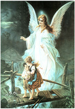 Guardian Angel on Bridge Art Print Poster Poster