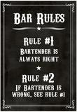 Barregler: Bartenderen har altid ret, Skilt, Kunst, Plakat, Tryk Posters