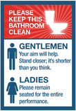 Clean Bathrooms Ladies Gentlemen Sign Art Print Poster Posters