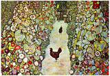 Gustav Klimt Garden Path with Chickens Art Print Poster Posters