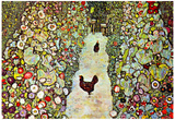 Gustav Klimt Garden Path with Chickens Art Print Poster Photo