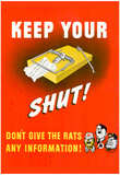 Keep Your Trap Shut Don't Give the Rats Any Information WWII War Propaganda Art Print Poster Plakater