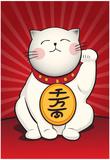 Maneki Neko (Lucky Cat) Art Poster Print Poster