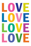 Love (Colorful, White) Art Poster Print Posters