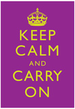 Keep Calm and Carry On Motivational Purple Art Print Poster アートポスター
